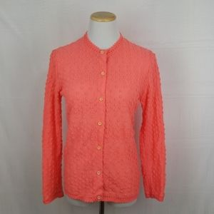 Vintage Retro Fluorescent Pink Cardigan Sweater